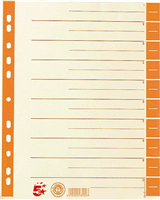 Trennblätter farbig, orange, RC Karton, 30x24cm, 5 Star 794850