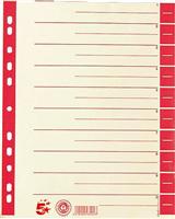 Trennblätter farbig, rot, RC Karton, 30x24cm, 5 Star 794915