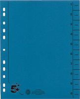 Trennblätter vollfarbig, blau, RC Karton, 5 Star 914735