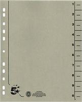 Trennblätter vollfarbig, grau, RC Karton, 5 Star 914778