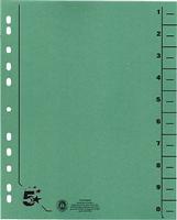 Trennblätter vollfarbig, grün, RC Karton, 5 Star 914794