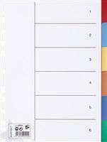 Register blanko A4, 6-farbig, 6-teilig, A4, 125my 5 Star 929244