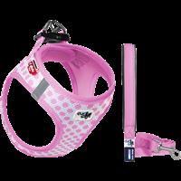 Curli Vest Geschirr Puppy Set - pink-circles