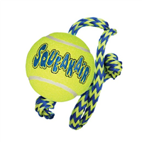 Kong Air Squeaker Tennis Ball with Rope - Medium (66417)