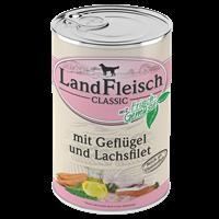 Landfleisch Dog Pur mit Frischgemüse - 400 g - Geflügel & Lachsfilet (440205)