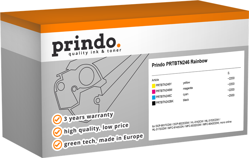 Value Pack Prindo PRTBTN246 Rainbow