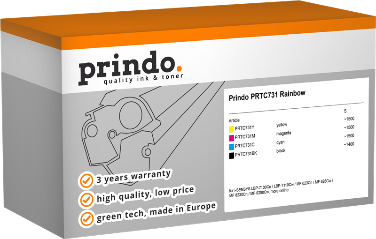 Value Pack Prindo PRTC731 Rainbow