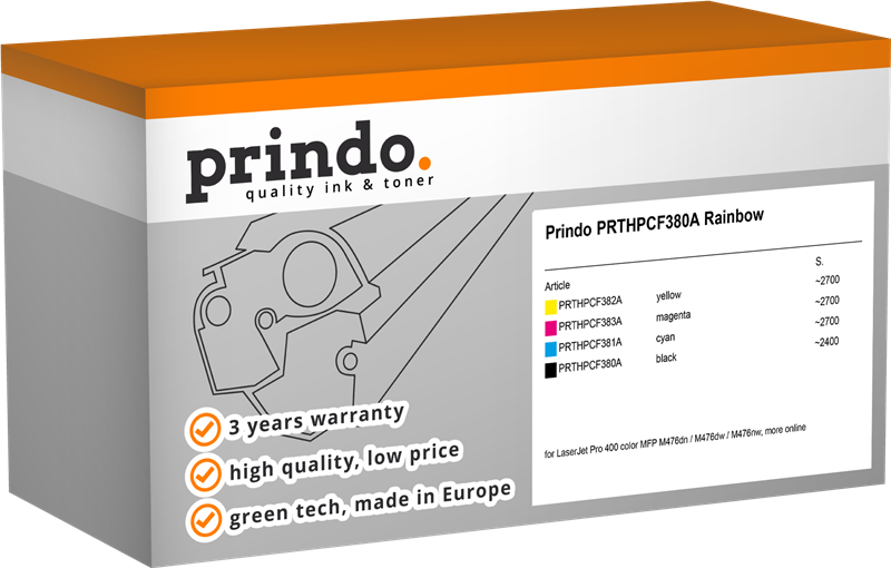 Value Pack Prindo PRTHPCF380A Rainbow