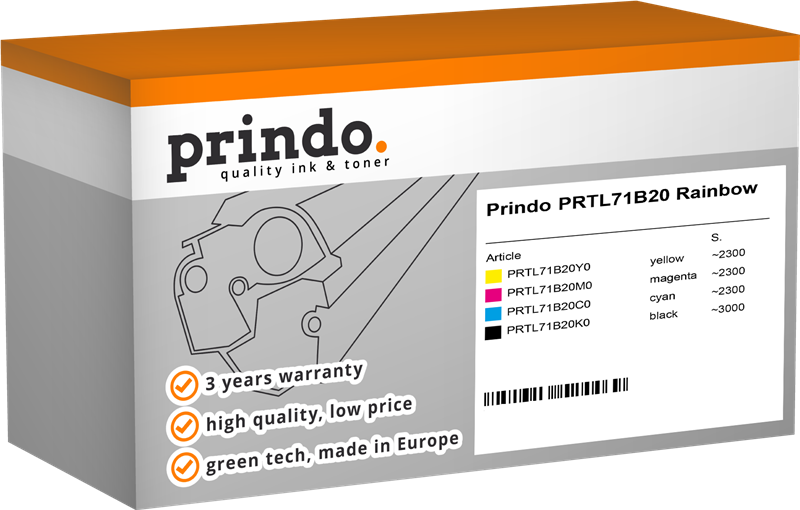 Value Pack Prindo PRTL71B20 Rainbow
