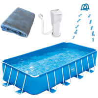 Swing Pools Premium Metallrahmen-Pool Beckenset blau 488 x 244 x 107 cm - Framepool mit Skimmer + Leiter (3000157)