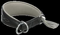 TRIXIE Active Comfort Halsband für Windhunde Leder schwarz/grau - S/M: 33-42 cm/60 mm (18963)