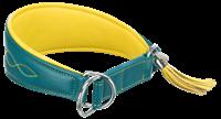 TRIXIE Active Comfort Halsband für Windhunde Leder petrol/gelb - XS: 21-26 cm/40 mm (18965)