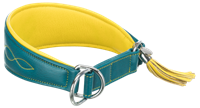 TRIXIE Active Comfort Halsband für Windhunde Leder petrol/gelb - S/M: 33-42 cm/60 mm (18968)