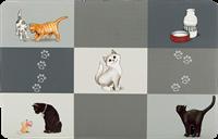 TRIXIE Napfunterlage Patchwork Cat - 44 × 28 cm, grau (24579)