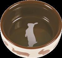 TRIXIE Keramiknapf mit Kaninchenmotiv - Farbwahl zufällig - 250 ml / ø 11 cm (60733)
