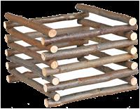 TRIXIE Natural Living - Heuraufe zum Aufstellen - Naturholz - 15 cm x 11 cm x 15 cm (60982)