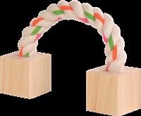 TRIXIE Baumwollspielseil mit Holz für Kleintiere - 20 cm (6186)