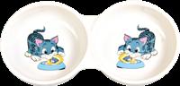 Trixie Doppelnapf mit Motiv aus Keramik - 2 × 0,15 l / ø 11cm weiß (4014)