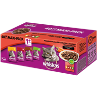 Whiskas 1+ in Sauce - Multipack - 40 x 100 g - Fleischauswahl (133273)
